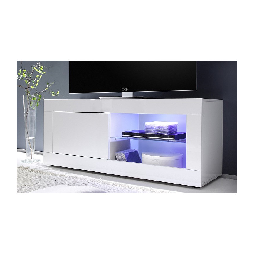 meuble tv basic 140 cm blanc. Black Bedroom Furniture Sets. Home Design Ideas