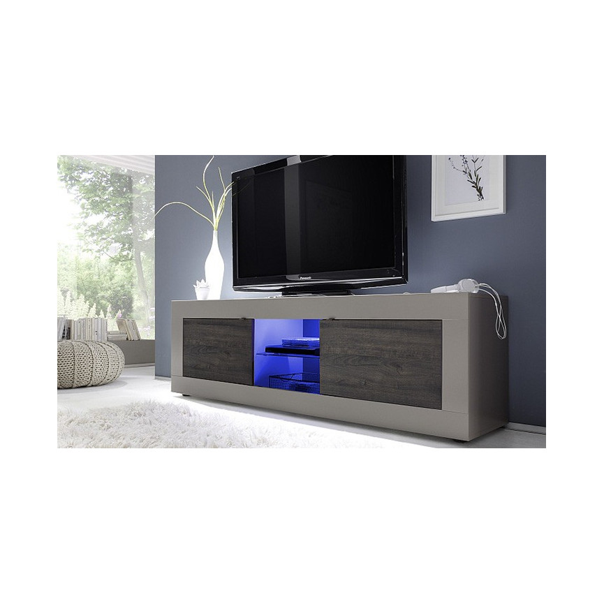 Meuble Tv Basic 181 Cm Taupe Weng  # Meuble Tv Taupe Et Blanc