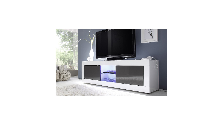 Meuble Tv Basic 181 Cm Blanc Anthracite Azura Home Maroc # Meuble Tv Anthracite