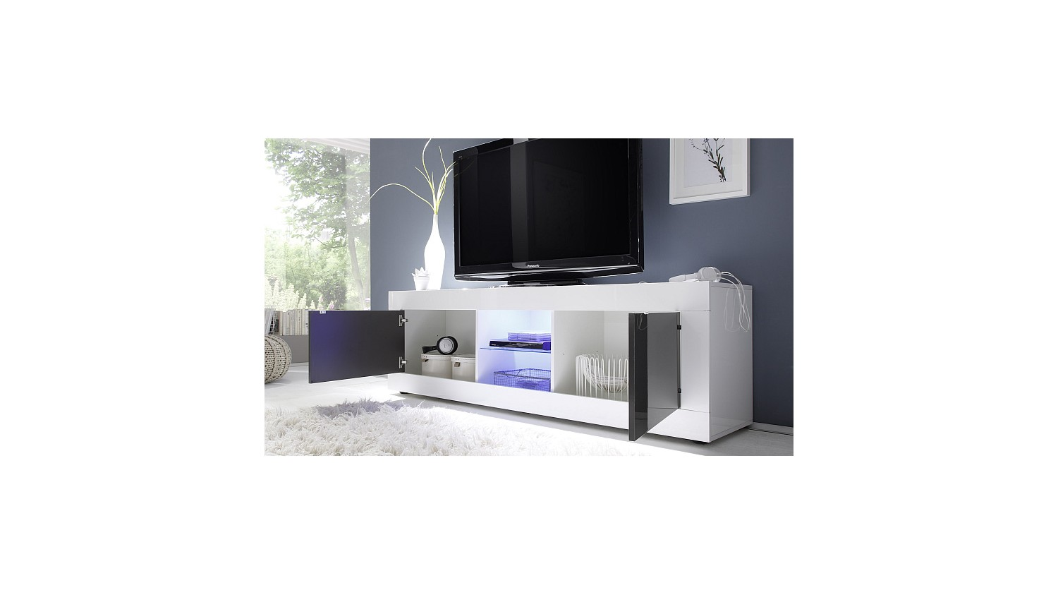 meuble tv basic 181 cm blanc anthracite azura home maroc. Black Bedroom Furniture Sets. Home Design Ideas