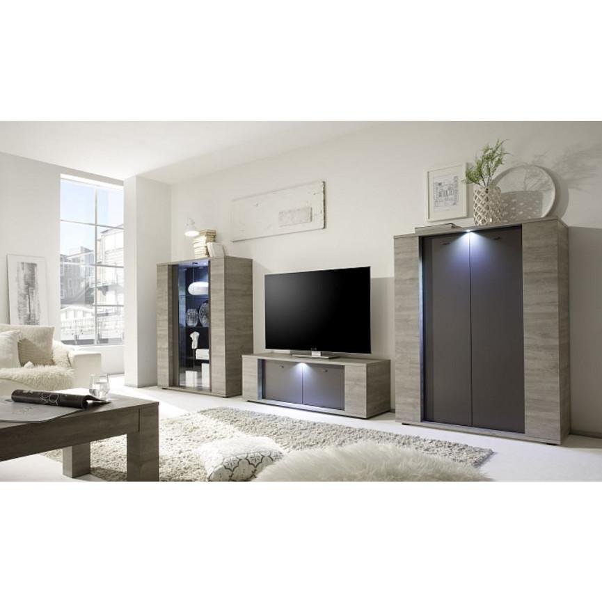 Meuble tv melbourne 137 cm bois gris s jour meuble tv for Meuble sejour gris