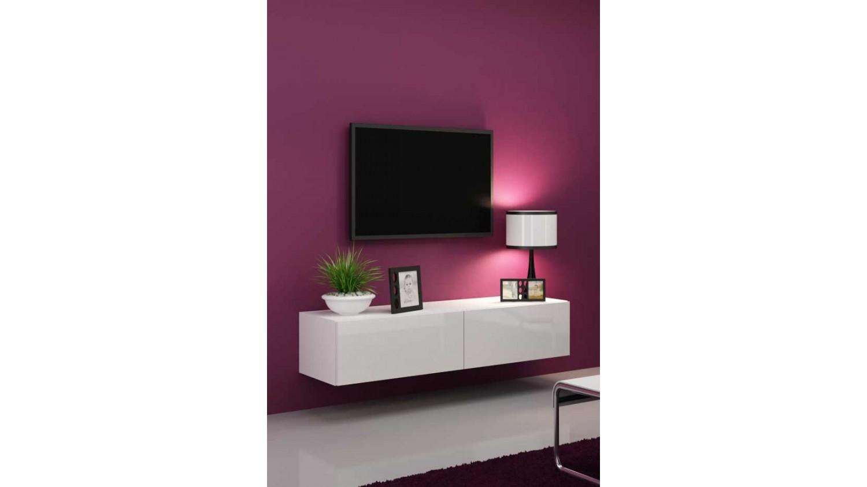 Meuble tv vigo 140 noir ou blanc s jour meuble tv for Meuble blanc sejour
