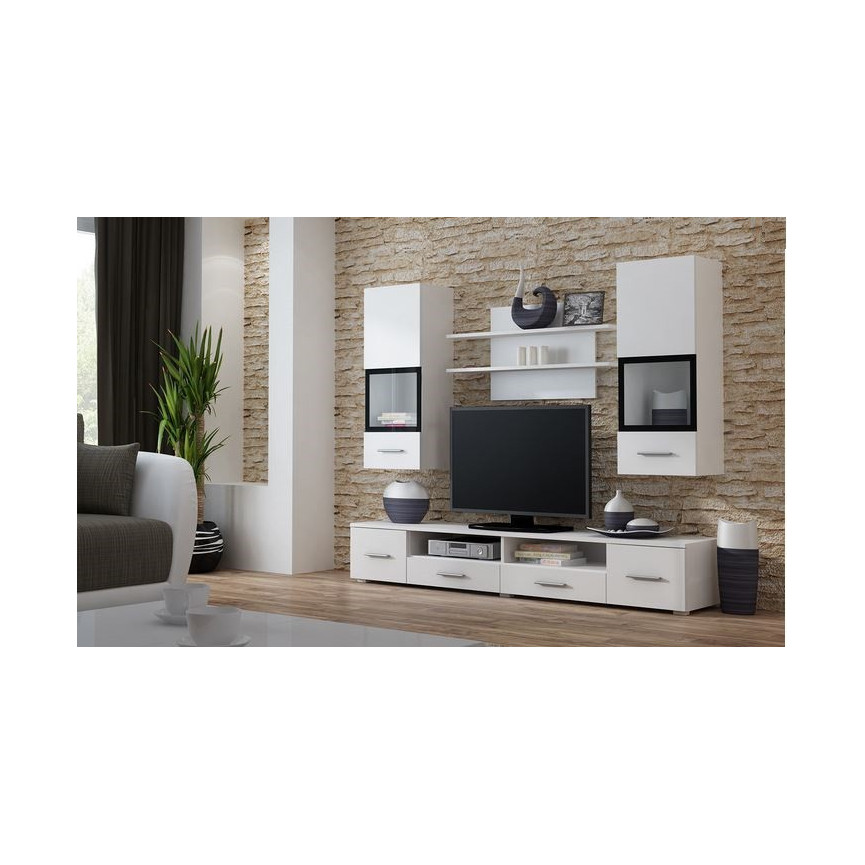 Ensemble meuble tv snow blanc sammlung von for Ensemble meuble tv blanc