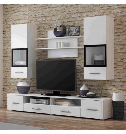 Ensemble meuble tv snow blanc d coration s jour for Meuble tv deco