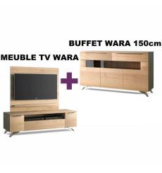 SET WARA Meuble tv + Buffet 150cm