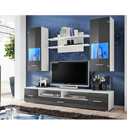 Ensemble meuble tv corte gris d coration s jour for Ensemble meuble tv gris