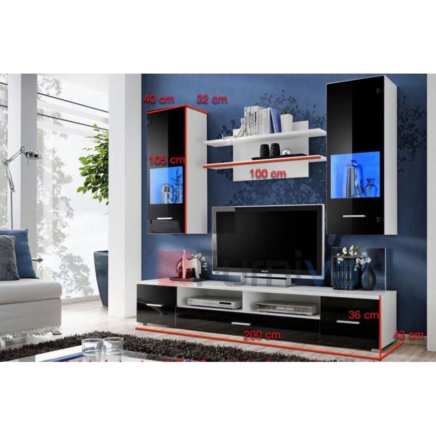 Ensemble meuble tv corte noir d coration s jour for Ensemble meuble