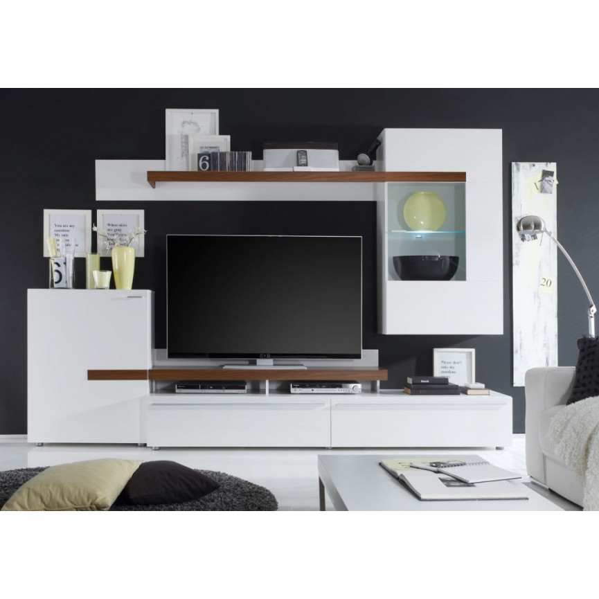 Ensemble meuble tv piano blanc d coration s jour for Ensemble meuble tv blanc