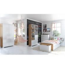 Chambre complète VERA, blanc et violet 160 ou 180 cm