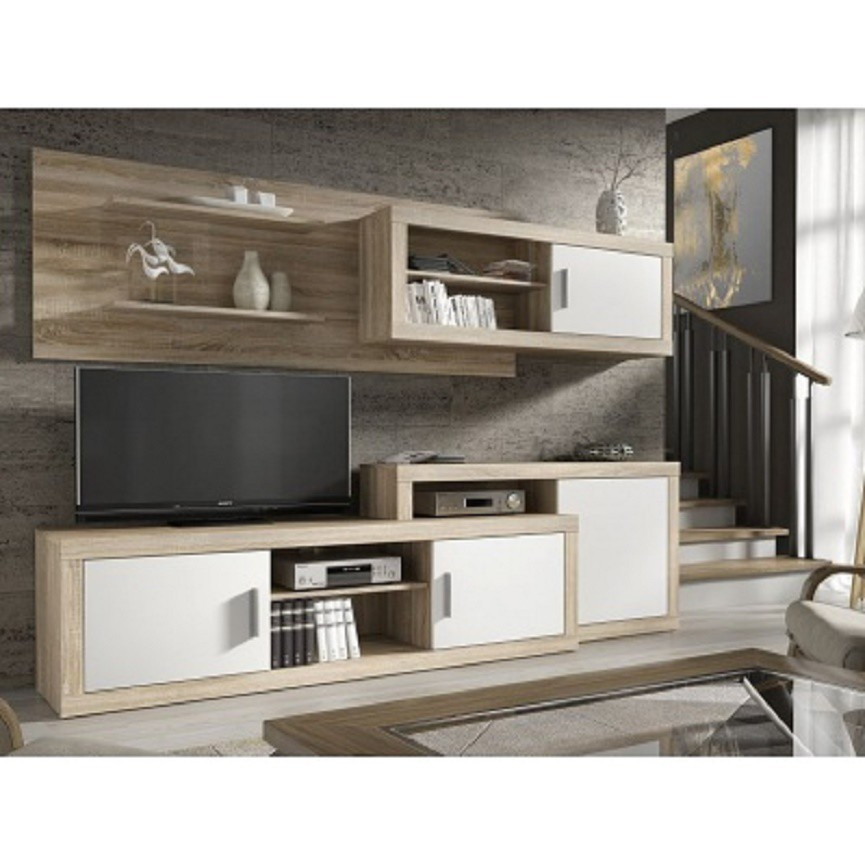 Ensemble meuble tv opalo blanc s jour for Meuble de tv blanc