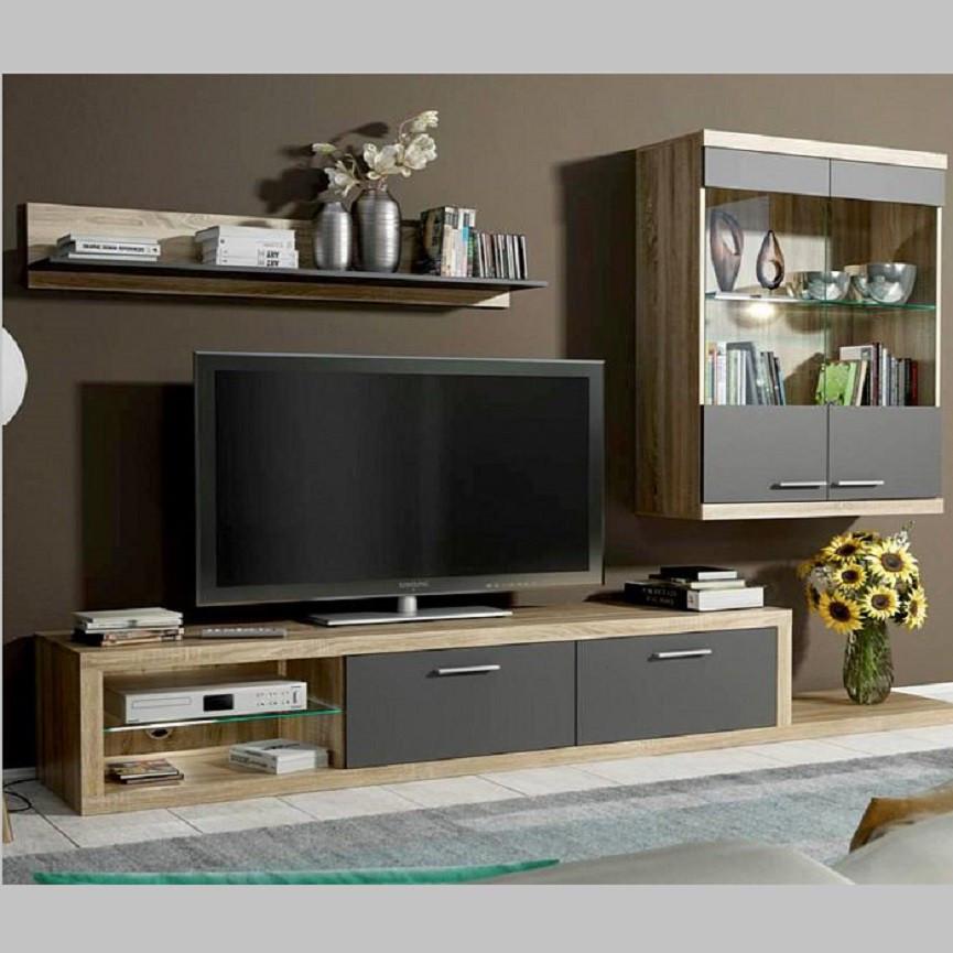 Ensemble meuble tv dolores noir s jour for Ensemble meuble sejour