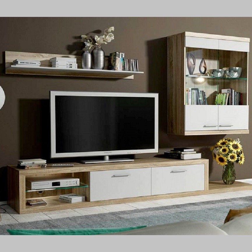 Ensemble meuble tv dolores blanc s jourblanc - Ensemble meuble tv blanc ...