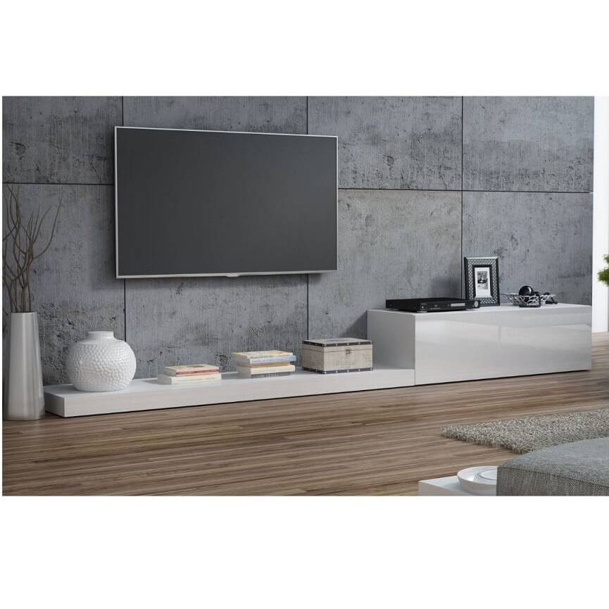 Ensemble meuble tv life ii 300 cm blanc d coration s jour for Meuble tv 300 cm