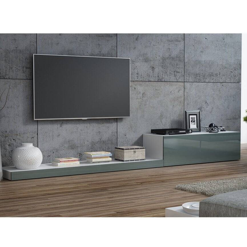 Ensemble meuble tv life 300cm gris d coration s jour for Ensemble meuble tv gris