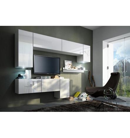 Ensemble meuble tv barcelona white d coration s jour for Meuble barcelona