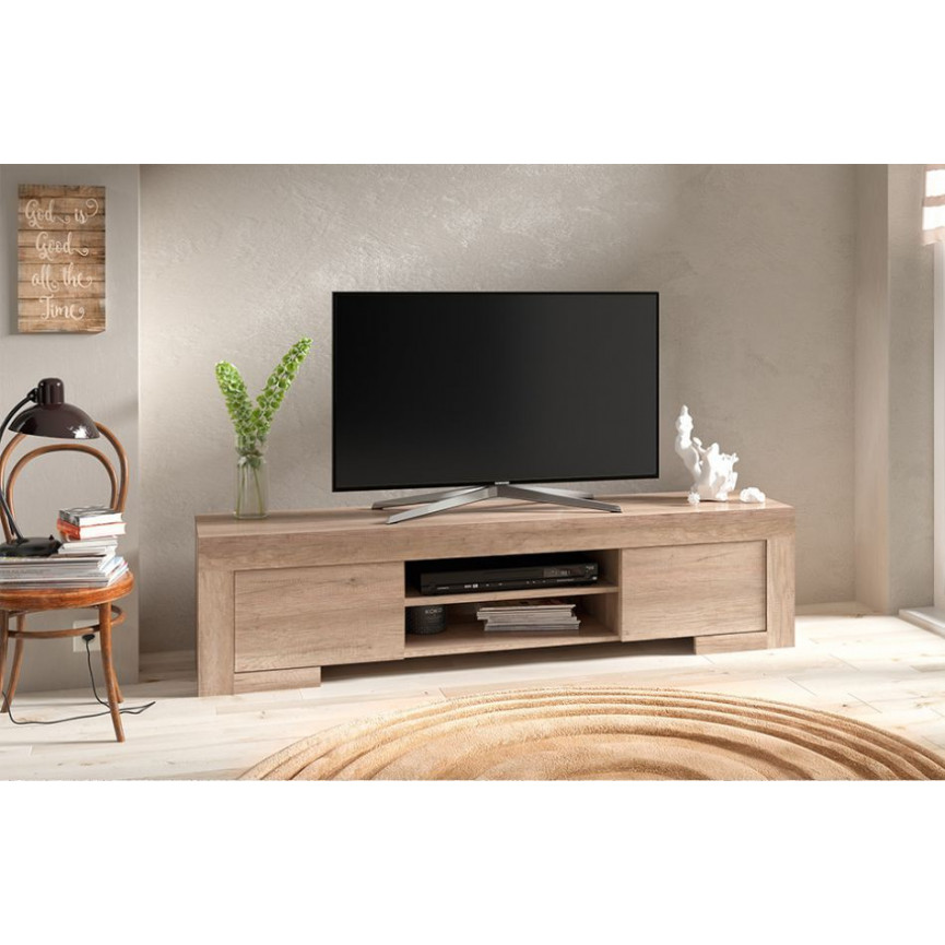 Meuble tv roma 170 cm ch ne gris meuble tv design for Meuble tv 110 cm gris