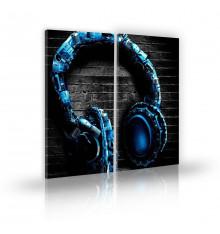 Tableau décoratif Abstract headphones  L 45 x H 100 cm(x2) - intérieur design, décoration moderne, art abstrait A139