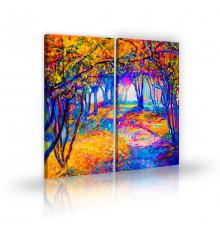 Modern autumn landscape painting L 45 x H 100 cm (x2) A299