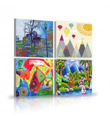 Tableau décoratif Kids pack  L 22 x H 22 cm(x4) - intérieur design, décoration moderne, art abstrait EF300