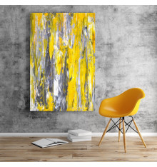 Tableau décoratif Abstract Grey & Yellow  L 60 x H 100 cm - interieur décoration art moderne A461