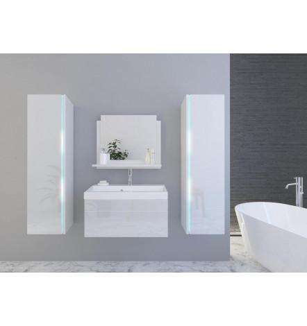 Meuble SANDY BLANC LAQUE salle de bain L80 avec vasque ...