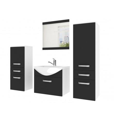 Meuble FINE salle de bain L50 Vasque intégrée miroir colonnes