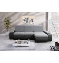 Canapé d'angle convertible ITALIA gris 255 x 168 cm