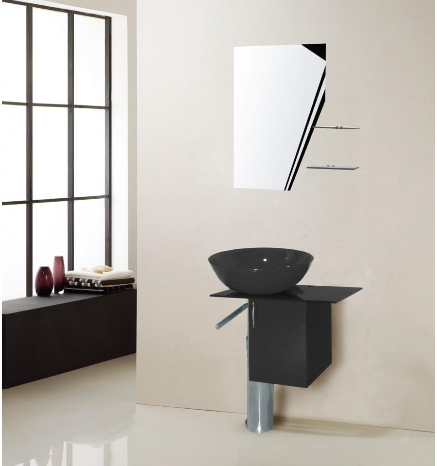 Ensemble de salle de bain manresa noir meuble salle de for Salle de bain niort