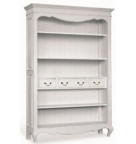 Ortelle biblioth que en bois blanc meuble vintage for Meuble sejour blanc