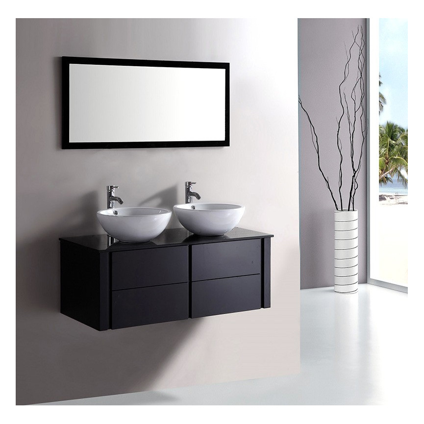 ensemble de salle de bain alcaraz noir meuble salle de bain double vasque d coration salle. Black Bedroom Furniture Sets. Home Design Ideas