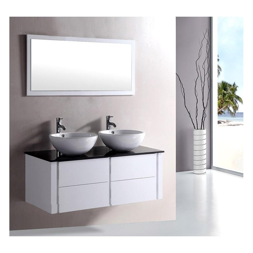 ensemble de salle de bain alcaraz white meuble salle de bain double vasque dcoration salle de bain - Meuble Double Vasque A Poser 2
