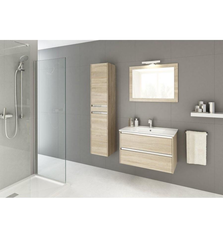 Ensemble de salle de bain fonte 80cm chene sonoma meuble for Ma salle de bain design