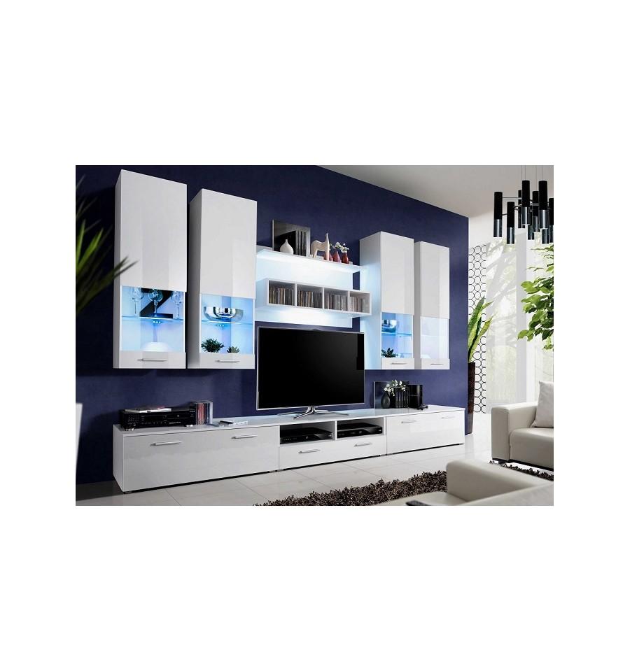 Ensemble meuble tv bonifacio blanc d coration s jour - Ensemble meuble tv blanc ...