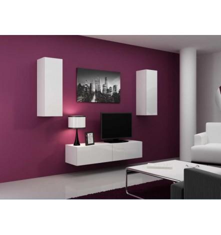 meuble tv vigo set blanc noir s jour meuble tv. Black Bedroom Furniture Sets. Home Design Ideas