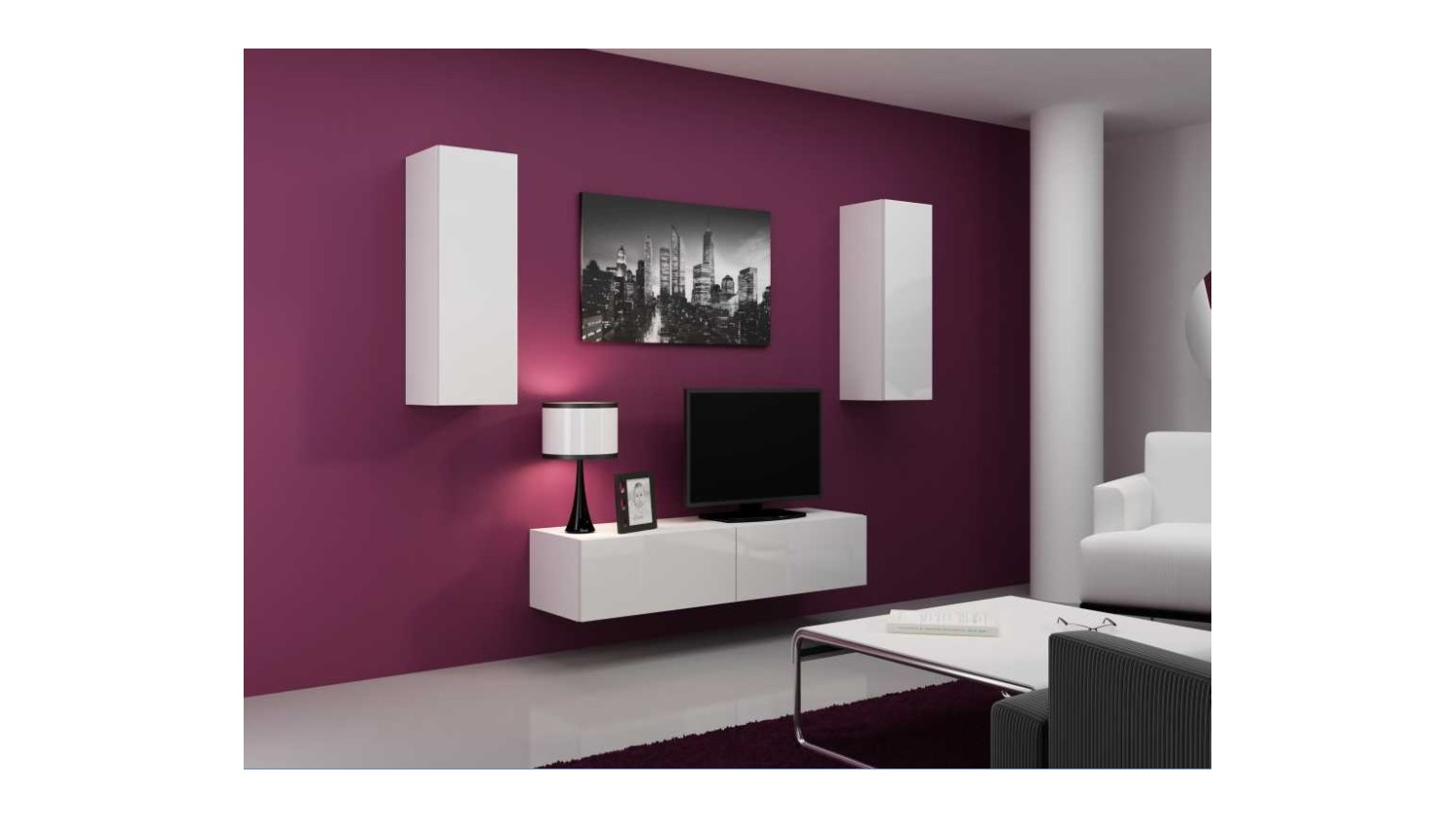 meuble tv vigo set blanc noir s jour meuble tv. Black Bedroom Furniture Sets. Home Design Ideas