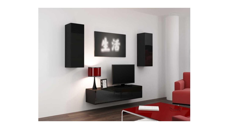 Meuble tv vigo set blanc noir s jour meuble tv for Set de salon liquidation