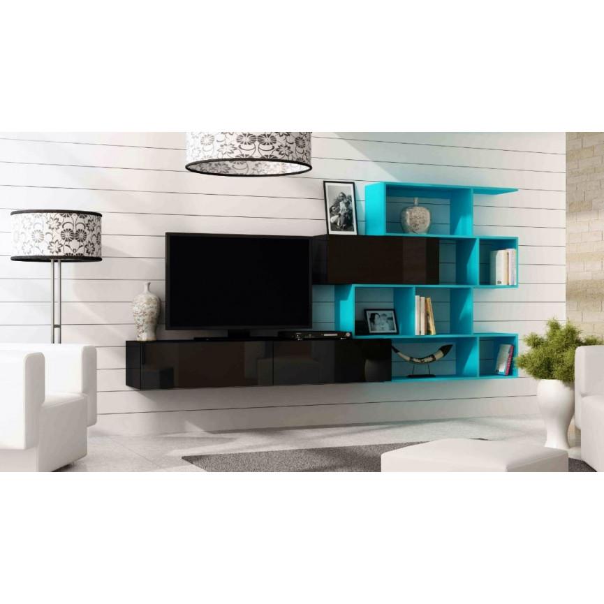 Meuble tv vigo noir s jour meuble tv for Meuble blanc ou noir