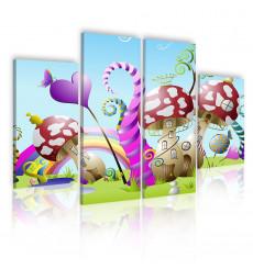 Tableau décoratif Kid City  L 40 x H70 cm(x2) L 40 cm x 100 cm(x2) - intérieur design, décoration moderne, art abstrait EF41