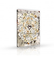 Tableau décoratif sheet music  L 60 x H 100 cm - intérieur design, décoration moderne, art abstrait H127