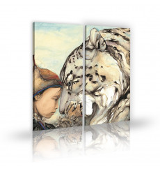 Tableau décoratif A boy and his tiger L 45 x H 100(x2) cm - intérieur design, décoration moderne, art abstrait EF131