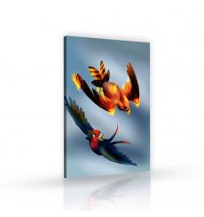 Tableau décoratif Bird on fire  L 60 x H 100 cm - intérieur design, décoration moderne, art abstrait ANIM132