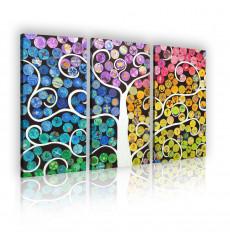Tableau décoratif School Art L 40 x H 100 cm(x3) - intérieur design, décoration moderne, art abstrait EF136