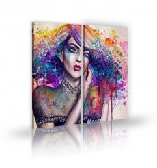 Tableau décoratif  Girl ink blots L 45 x H 100 cm(x2) - intérieur design, décoration moderne, art abstrait A156
