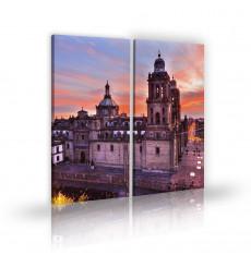 Tableau décoratif Mexico city L 45 x H 100 cm(x2) - intérieur design, décoration moderne, art abstrait V160