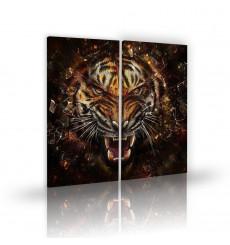 Tableau décoratif  Mad Tiger abstract L 45 x H 100 (X2) cm - intérieur design, décoration moderne, art abstrait A185