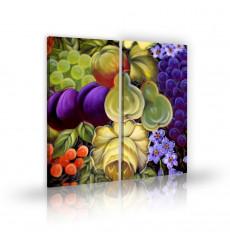 Tableau décoratif  Mixed fruits  L 45 x H 100 cm (x2) - intérieur design, décoration moderne, art abstrait C189