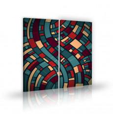 Tableau décoratif Abstract art 3 L 45 x H 100 cm (x3)- intérieur design, décoration moderne, art abstrait A256