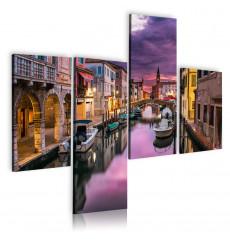 Tableau décoratif Chioggia canal Italy Quadriptyque - intérieur design, décoration moderne, art abstrait VM258