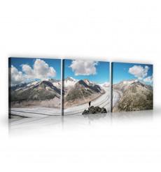 Tableau décoratif Snowy mountains L 45 x H 45 cm (x3) - art moderne, intérieur abstrait design N265