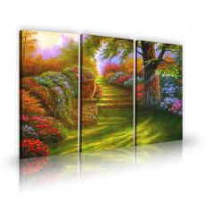 Tableau décoratif Nice garden L 45 x H 100 (x3) - art moderne, intérieur abstrait design N269